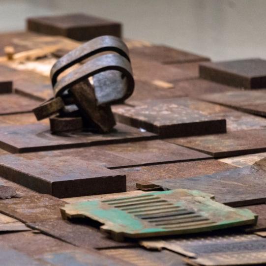"""""""Metal Quilt,"""" Installation Art by Artist Angela Scozarri"""